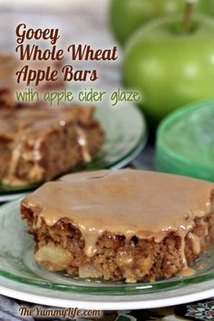 Gooey Whole Wheat Apple Bars with Apple Cider Glaze. These moist cake bars are over the top with apple flavor. Serve as coffee cake in the morning or dessert in the evening.