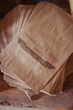 Thank you msg printed onto brown paper bags for the sweet table.