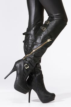 Black Gold Accent Knee High Boots