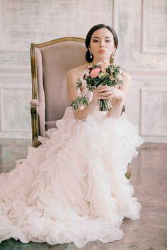 Layered ruffle wedding dress | Irina Klimova Photography | see more on: http://burnettsboards.com/2014/09/beauty-flower-exquisite-bridal-editorial/