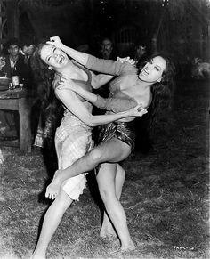 martine beswick alisa gur - two beautiful women in a catfight brawl fighting fight cat fight girls - love the bearded man in the background - vintage retro female wrestling wrestler wrestle #dukeitout #beatdown #badbitch