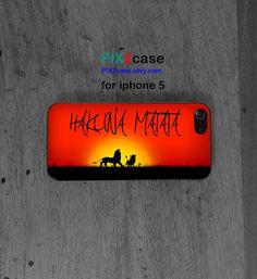 Hakuna matata, iPhone 5 case, lion king, Disney iphone case, cartoon iphone case, iphone silicone case on Etsy, $9.99