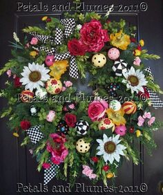Spring Wreath - Summer Wreath - Mothers Day Wreath - Easter Wreath - Black White Checked