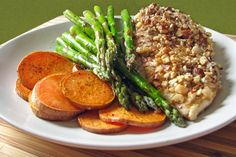 15 Easy Chicken Dinner Recipes — Almond-Crusted Chicken with Sweet Potatoes and Asparagus