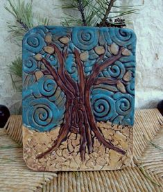 Fall tree Clay tile by paintedheARTworks on Etsy, $18.00