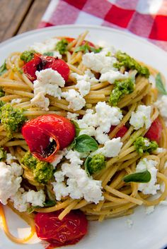 pasta with roasted cherry tomatoes, ricotta, and pesto