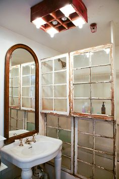 Old windows as divider for shower....love!