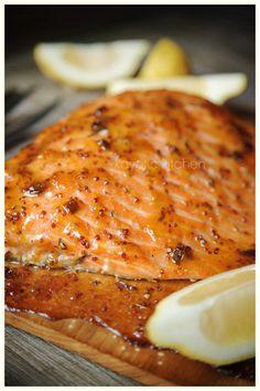 Cedar plank glazed salmon
