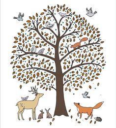 digit imag, autumn leaves, mari kilvert, art prints, art drawings, trees, tree digit, nurseri theme, woodland creatur
