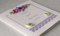 60th birthday card, paper quilling, personalized for any age or name. £5.50, via Etsy.