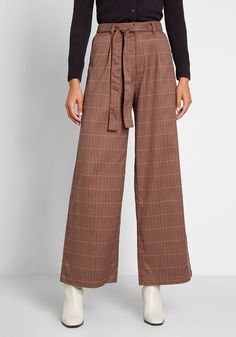ModCloth The Savannah Plaid Wide-Leg Pants Brown Plaid | ModCloth