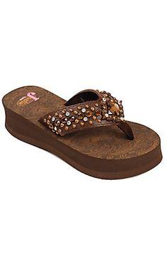 Justin® Abbey™ Ladies Brown Croc Print w/ Square Concho Jeweled Flip-Flop