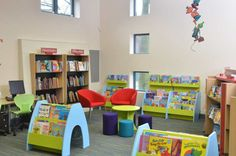Our children's book display furniture in the children's area at Gateshead library design