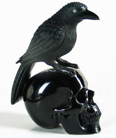 Black Obsidian Sculpture: Crow and Skull, Crystal