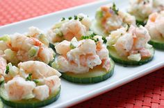 Shrimp Salad on Cucumber Slices  Gina's Weight Watcher Recipes     As an Appetizer:   Servings: 30 • Serving Size: 1 piece • Old Points: 0 pts • Points+: 0 pts  Calories: 15.7 • Fat: 0.4 g • Protein: 2.5 g • Carb: 0.5 g • Fiber: 0.1 g        As Lunch:   Servings: 4 • Serving Size: 1/4 lb salad, 1/4 cucumber • Old Points: 2 pts • Points+: 3 pts  Calories: 117.5 • Fat: 2.8 g • Protein: 18.8 g • Carb: 3.7 g • Fiber: 1.0 g