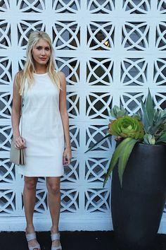 Jennifer Wilson of Modern Ensemble is stunning in white wearing a Banana Republic dress.