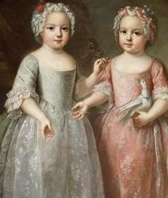 Princesses and twin sisters,Louise Elisabeth and Anne Henriette, daughters of Louis XV and his queen Marie.  Aunts of Louis XVI.  Louise married the younger son of Philip V of Spain, and became Duchess of Parma.