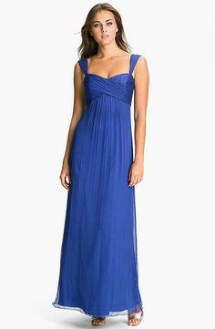 Long Blue Cap Sleeve Chiffon Dress