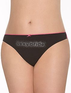 """With a sheer lace back and embellished """"Sexy Bride"""" print, our soft cotton thong panty is sultry pick for the bride-to-be. Makes a great shower gift! #LaneBryant"""