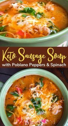 Sausage Soup with Peppers and Spinach recipe. A keto soup recipe for those who lose weight on the keto diet. This keto soup is delicious, it is one of my quick keto soup recipes that are perfect for keto meal prep and cold weather. Try this keto diet soup with your favorite ketogenic recipe carb swaps. #ketorecipe #ketodiet #ketogenic #lowcarb #lchf