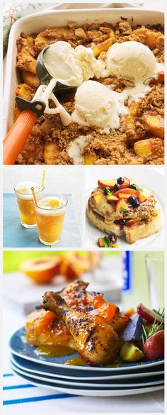 Daily Dish: Delicious Peach Dishes. Get more Daily Dish recipes here: http://bhgfood.tumblr.com/post/28697653504/daily-dish-august-is-national-peach-month-enjoy
