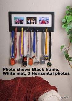 Black Sport Medal display with photo frame. -- Would be great for hanging his karate belts girls sports bedroom, craft, sports medal display, displaying sports medals, sports award ideas, black sport, display medals, display sport medals, kid