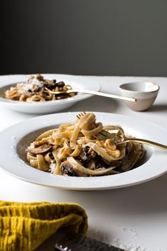 {Fettuccine with mushrooms, walnuts and parmesan.}