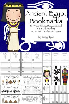 $ This pack contains a total of 47 different Ancient Egypt-themed bookmarks. These will be highly motivational for students to use while reading both non-fiction and fiction books. Great way to use graphic organizers to help students set a purpose for reading.