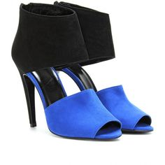 Pierre Hardy Two Toned Suede Peep-Toe Pumps ($748) ❤ liked on Polyvore