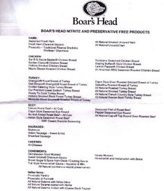 Boar's Head Meats WITHOUT nitrates and preservatives