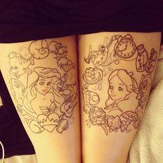 Little Mermaid & Alice in Wonderland tattoos