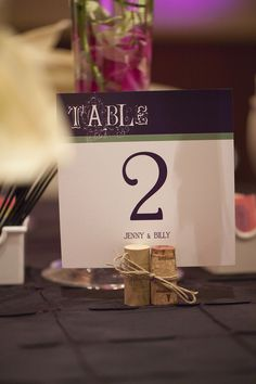 wine cork with twine placecards for a wedding