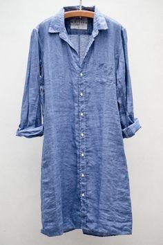 heist - frank  eileen shirt dress - dark blue linen