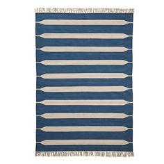 Indigo Paddle Stripe Cotton Dhurrie
