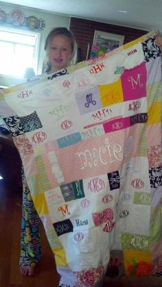 monogram blanket, monogram clothes quilt, memory quilts, monogram quilt, kid
