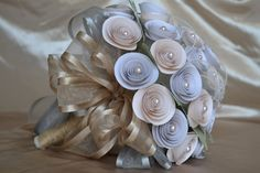 Wedding Bridal Paper Bouquet with Pearls. via Etsy.
