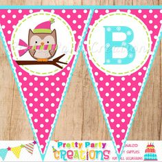 BRIGHT WINTER OWL Pennant Banner  You by PrettyPartyCreations, $8.50