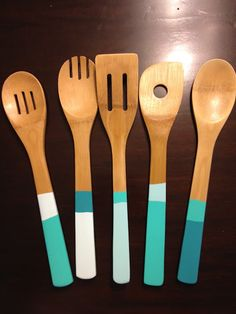kitchen utensils, block spoon, color block, kitchen colors, diy dip, bridal shower gifts, housewarming gifts