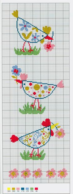 Floral chickens free cross stitch pattern from www.coatscrafts.pl  Great pattern for coasters.