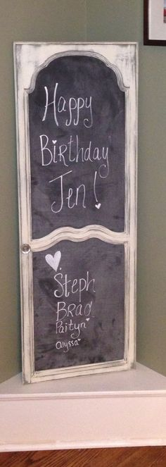 My birthday present from my sister. Old hutch door repurposed to a cool menu board! Love it!
