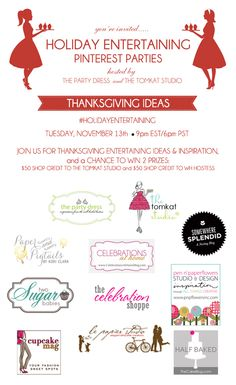 Join us tonight for a fabulous #thanksgiving themed pinterest party with party + entertaining bloggers!  Tuesday 11/13 9pm EST/6pm PST  use hashtag #holidayentertaining