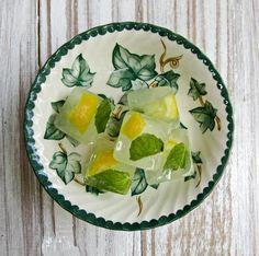 Mint and Lemon Slice Ice Cubes