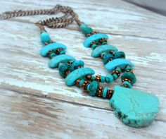 Genuine Faceted Turquoise Copper Green Teal by Cheshujewelry, $49.00