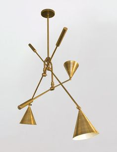 Retroline Trio brass light fixture