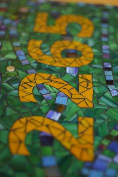 Mosaic House Sign by jackienoyes, via Flickr