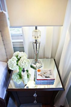add a mirrored top to any nightstand - and maybe some pretty drawer pulls
