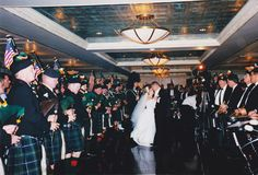 Entire Bagpipe Band at Wedding