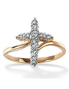 Diamond Accent 10k Cross Ring by Palm Beach Jewelry