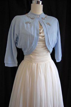 Vintage 50s Light Blue Beaded Sweater // 1950s Blue Bolero Cropped Sweater // Wedding Jacket
