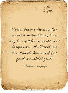 Vincent van Gogh quote about Paris